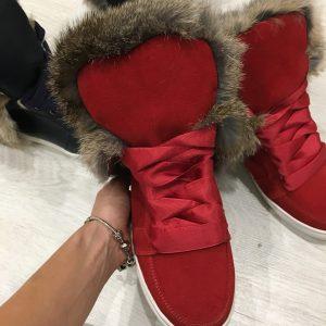 VN Красные женские кеды с широкими шнурками и натуральным мехом