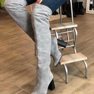 VN Женские ботфорты серые замш на каблуке
