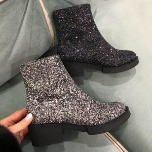 D$ Женские ботинки в сахаре блестящие серебро