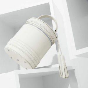 Женская сумка бочонок белая