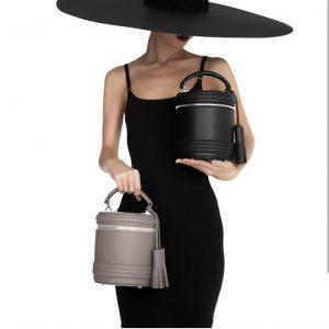 Женская сумка бочонок серая