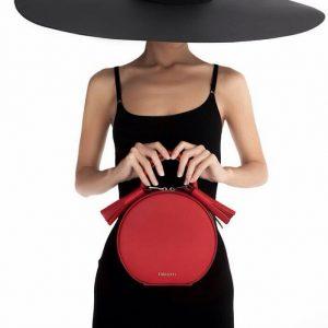 Женская сумка круглая красная