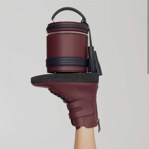 Женская сумка бочонок бордовая