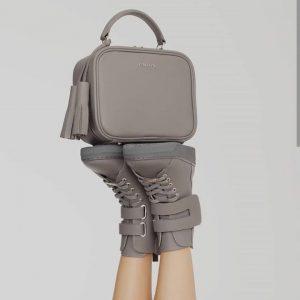 Женская сумка квадратная серая