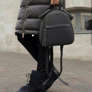 Женский кожаный рюкзак серый