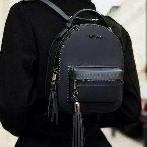 Женский рюкзак с паетками темно-синий