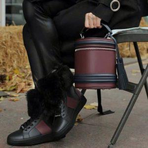 Женская сумка на замке бордовая