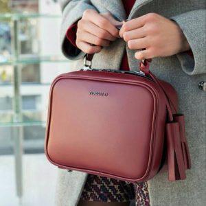 Женская сумка кожаная бордо