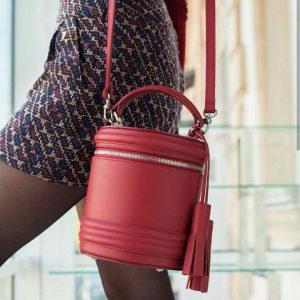 Женская сумка цилиндр красная