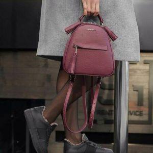 Женский рюкзак с паетками бордо