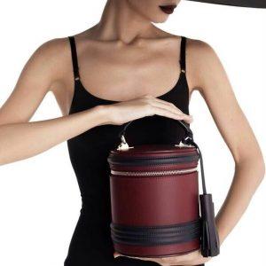 Женская сумка бочонок бордо с черным