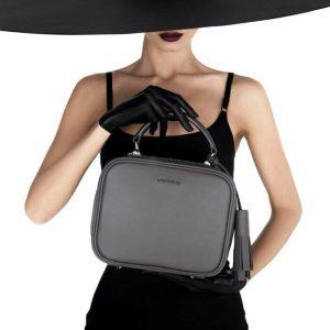 Женская сумка кожаная серая