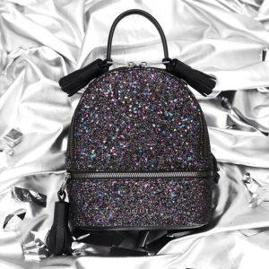 Женский рюкзак блестящий фиолетовый