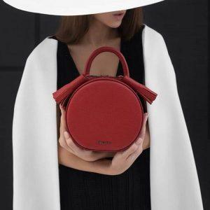 Женская сумка кожаная красная