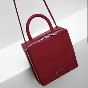 Женская сумка кожаная квадратная красная