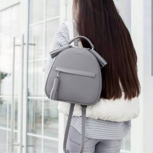 Женский рюкзак с паетками серый