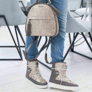 Женский рюкзак серебристый