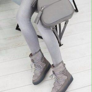 Женский рюкзак кожаный серый