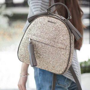 Женский рюкзак кожаный серебристый