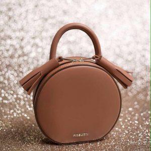 Женская сумка кожаная круглая рыжая