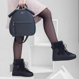 Женский рюкзак кожаный темно-серый