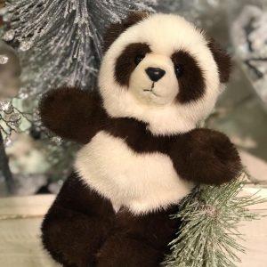 Игрушка из натурального меха мишка панда новогодний