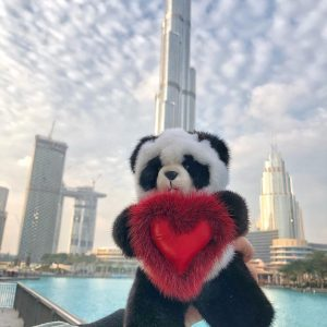 Игрушки из меха мишка панда с сердцем