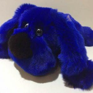 Игрушки из натурального меха собака ярко-синяя