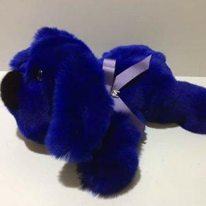 Игрушки из натурального меха собака ярко — синяя  2