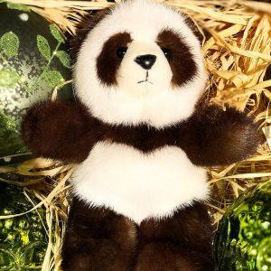 Игрушка из меха норки панда бело-чёрная