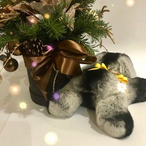 Меховые игрушки собака серая 2
