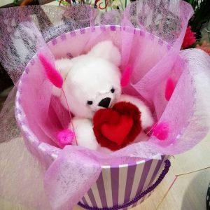Норковая игрушка медведь белый из меха натурального