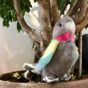 Норковая игрушка попугай разноцветный