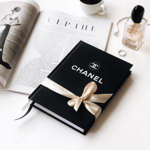 Записная книжка Шанель черная с лентой атласной
