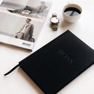Записная книжка Boss черная закладка черная