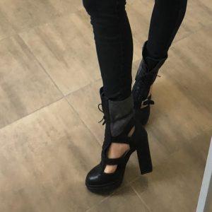 VN Ателье магазин женской обуви ботильоны из кожи черной на шнуровке