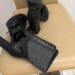 VN Ботильоны демисезонные кожаные черные на каблуке