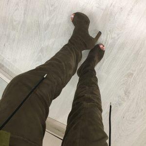 VN Пошив обуви на заказ ботфорты с открытым носком оливковые (4)