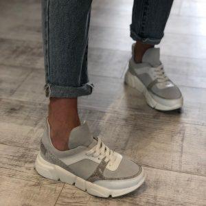 VN Женская обувь ручной работы кроссовки серые с кожаными вставками