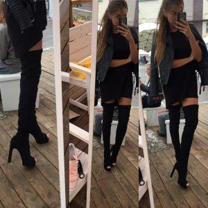 VN Женские ботфорты весенние из кожи черные на каблуке (2)