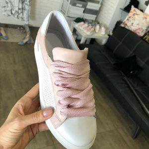 VN Женские замшевые кеды белые с розовыми вставками