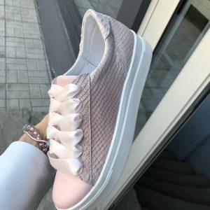 VN Женские замшевые кеды розовые с белыми шнурками (5)