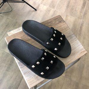 VN Замшевая обувь ручной работы шлепанцы черные легкие