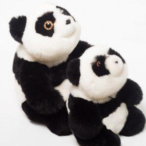 Игрушка из натурального меха панда мама с малышом