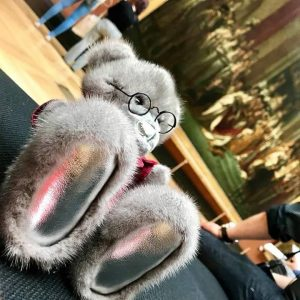 Игрушка из норки мишка Тедди ручной работы серый