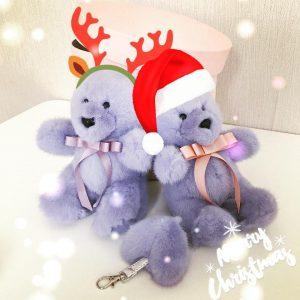 Игрушки из норки мишки ручной работы фиолетовые с бантами