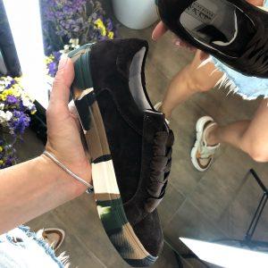 VN Авторская обувь купить кеды из замши темно-коричневые подошва хаки