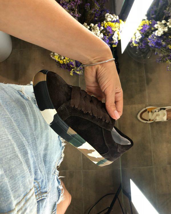 VN Авторская обувь купить кеды из замши темно-коричневые подошва хаки (2)