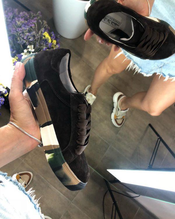 VN Авторская обувь купить кеды из замши темно-коричневые подошва хаки (3)