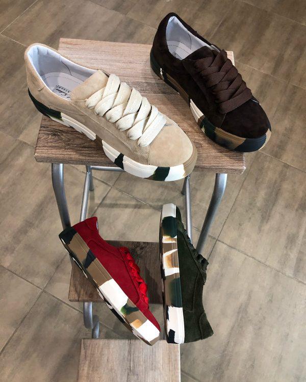 VN Авторская обувь купить кеды из замши темно-коричневые подошва хаки (4)